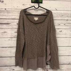 Anthro Deletta taupe chiffon trimmed sweater